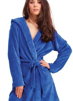 💞уютный тёплый ,флисовый синий халат м