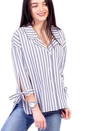 Ультра модная рубашка свободного кроя с пиджачным воротом и за...