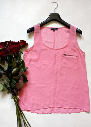Нежно-розовая шифоновоая блуза м