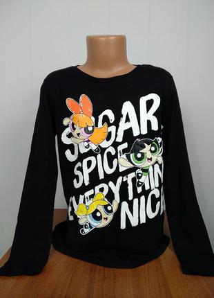 Красива футболочка з довгим рукавом реглан з принтом cartoon n...