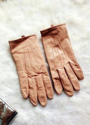 Персиковые бежевые кожаные натуральные перчатки рукавички зимн...