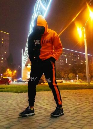 Худи Sad Smile Черно-оранжевый