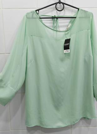 Мятная шифоновая комбинированная блуза