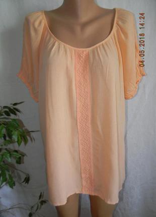 Натуральная легкая персиковая блуза с кружевом f&f