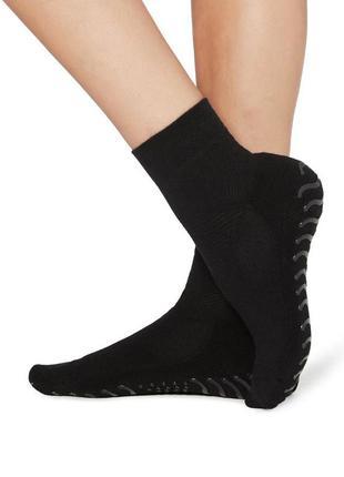 39-40р. чёрные носки-тапки с силиконовой подошвой