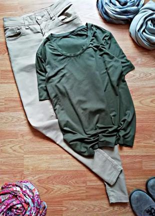 Женская базовая мягкая комфортная футболка хаки - размер 46-48