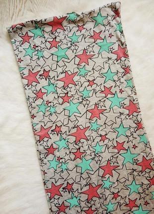 Длинный хомут хлопок цветной шарф серый цветными звездочками ш...