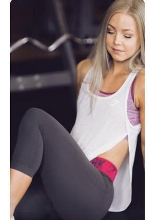 Стильная спорт футболка под топ майка легкая gymshark