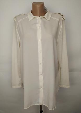 Блуза новая кремовая с красивыми плечами h&m uk 12/40/m