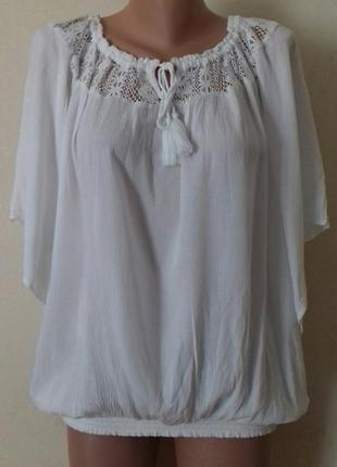 Натуральная кремовая блуза с кружевом f&f