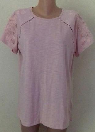 Трикотажная новая блуза в вышивкой f&f
