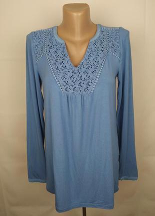 Блуза голубая шикарная плотная с кружевом boden uk 8/36/xs