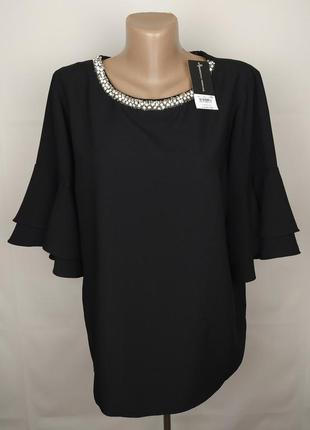 Блуза новая шикарная плотная украшенная ожерельем uk 16/44/xl