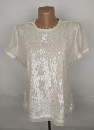 Блуза шикарная шелковая в паетках оргинал karen millen uk 12/40/m