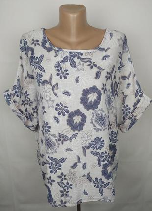 Блуза рубаха итальянская льняная в принт uk 16/44/xl