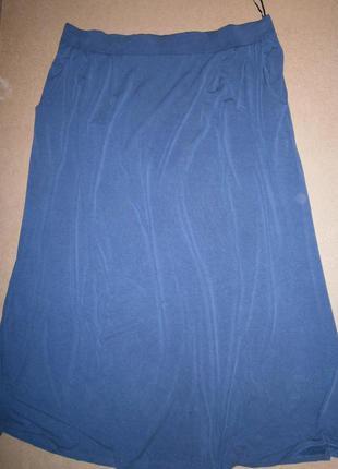 Серая юбка большой размер трикотаж модал