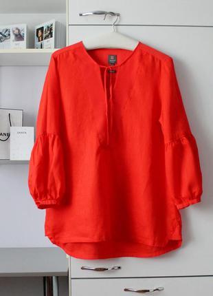 Льняной красный брючный костюм от manor, 100% лен
