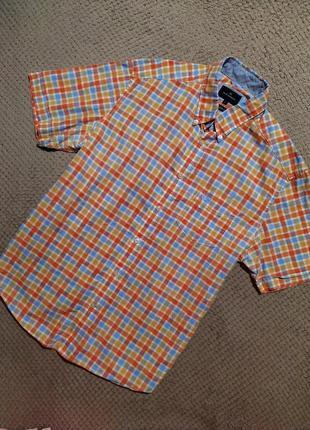 Мужская рубашка в клетку/хлопок/короткий рукав/от marks & spancer