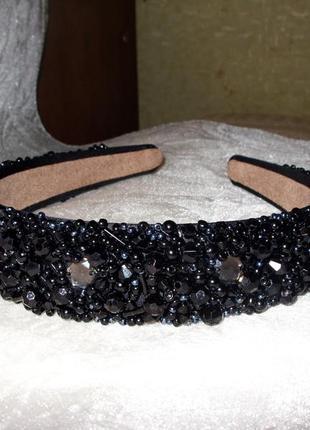 Черный обруч для волос 3 см