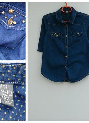 Удлиненная джинсовая рубашка для девочки 9-10лет
