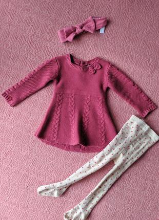 Теплый комплект колготки платье