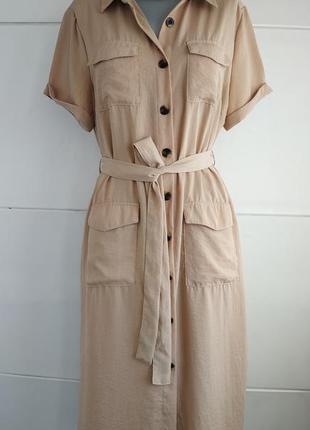 Стильное платье primark бежевого цвета