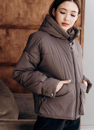 Куртка оверсайз объемная с капюшоном накладные карманы оверсайз