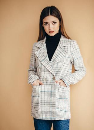 Жакет в клетку шерстяной пиджак блейзер с карманами