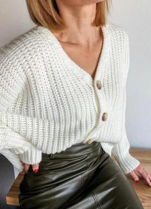 Кофта стильная оверсайз объемная крупная вязка свитер