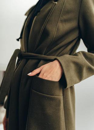 Пальто весенее кашемировое под пояс