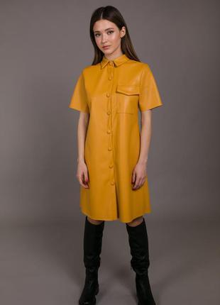Актуальное платье экокожа с карманом кожзам