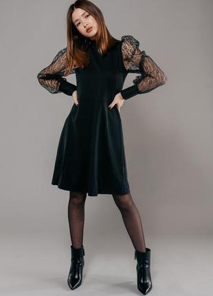 Шикарное платье с прозрачными рукавами фонариками