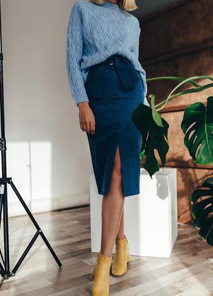 Юбка джинсовая миди с разрезом