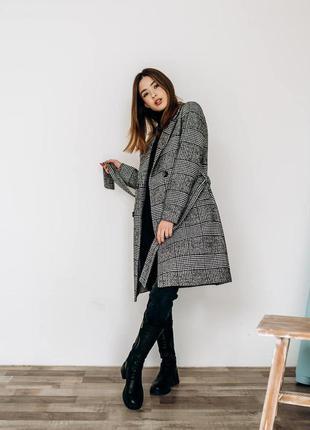 Пальто в клетку демисезонное весенее классика с поясом пальто ...