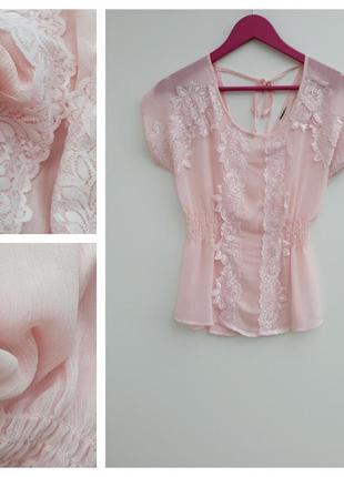 Нежно розовая блузка с круживом летняя блузочка милая нежная