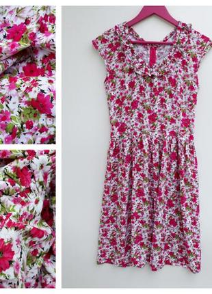 Шикарное платье миди в цветочный принт летнее платье в зборки