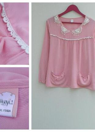 Нежно розовая рубашка блузка с карманами и круживом