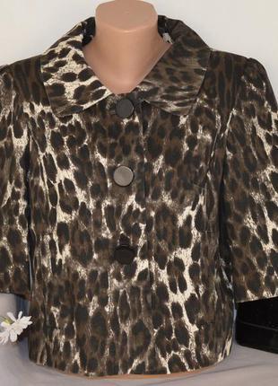 Брендовый леопардовый коттоновый пиджак жакет полупальто с кар...