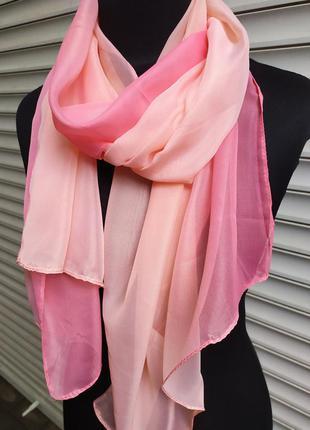 Шифоновый шарф градиент омбре персик розовый в наличии