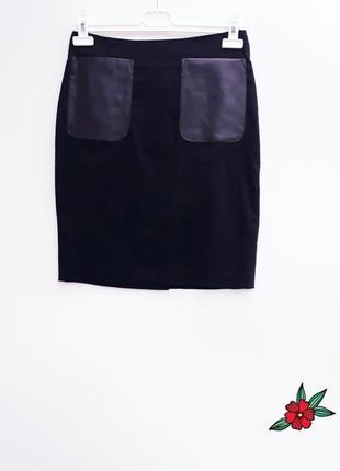 Красивая юбка карандаш с кожаными карманами