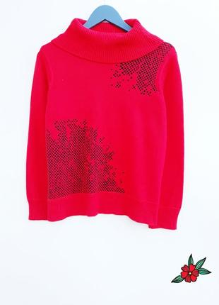 Плотный шерстяный свитер яркий свитер с горлом теплый