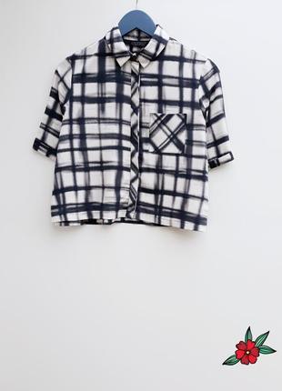 Укороченая рубашка клетка стильная рубашка в клетку