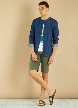 Лёгкая джинсовая рубашка хлопок французского бренда kiabi