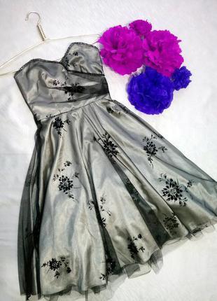 Распродажа! вечернее праздничное платье с бархатными цветами c...