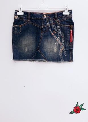 Короткая джинсовая юбка стильная юбка с джинса