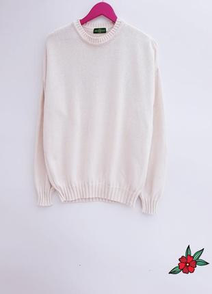 Бежевый свитер оверсайз нежный натуральный свитер состояние но...