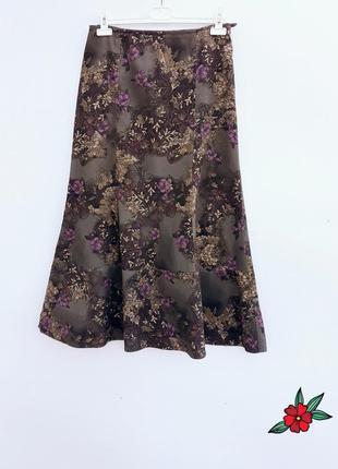 Юбка миди вельветовая юбка миди в цветы