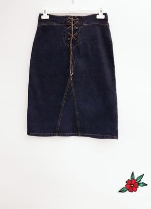 Джинсовая юбка миди джинсовая юбка трапеция с шнуровкой