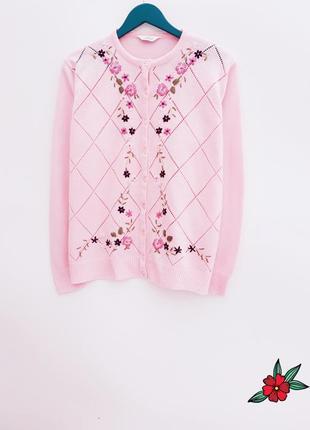 Нежный свитер кардиган с вышивкой нежно розовый свитер на пуго...