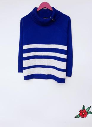 Красивый свитер с горлом синий свитер в полоску